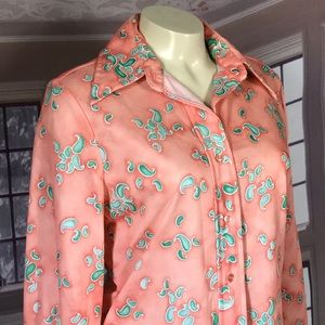 Vintage 70s Polyester Button Down Shirt